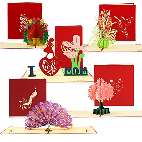 5 Pieces 3D Pop Up Cards Flower Peacock Greeting Cards with Envelope for Birthday Cards, Mother's Day Card, Graduation Cards, Thanksgiving Card, Anniversary and Christmas Card, 5 Styles