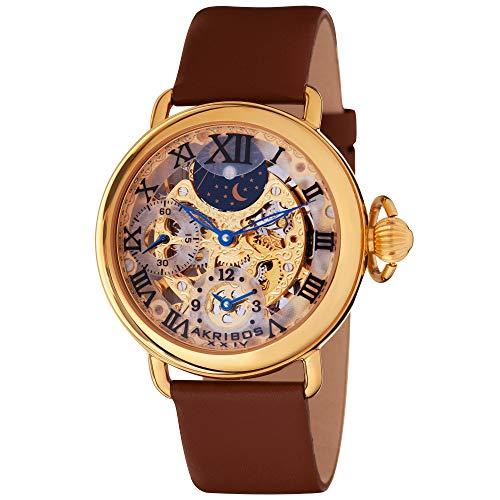 (Akribos XXIV Men's AKR451YG Bravura Mechanical Dual Time Skeleton Gold-Tone Watch )