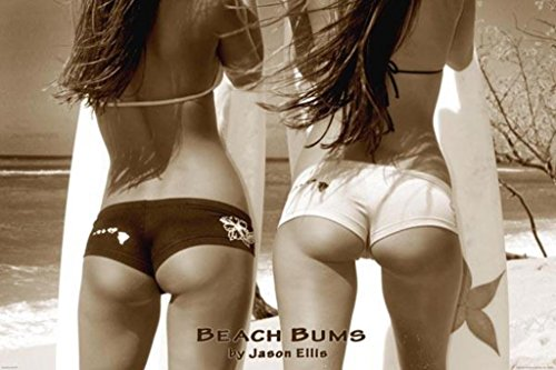 Beach Bums Sexy Surfers Butts Photo Poster 36x24 inch (Girl Surfer Poster)