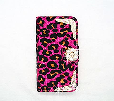 Pearl Luxury Crystal Rhinestone Diamond pearl bow bowknot BLING CRYSTAL Leopard Velvet COVER WALLET CASE FOR rose Alcatel One Touch Pop Mega LTE A995G (Alcatel A995g Wallet Case)
