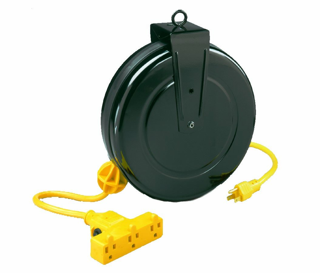 Alert Stamping 5000M-30GF-CB 30-Feet Retractable Extension Cord Reel with Circuit Breaker by Alert Stamping (Image #1)
