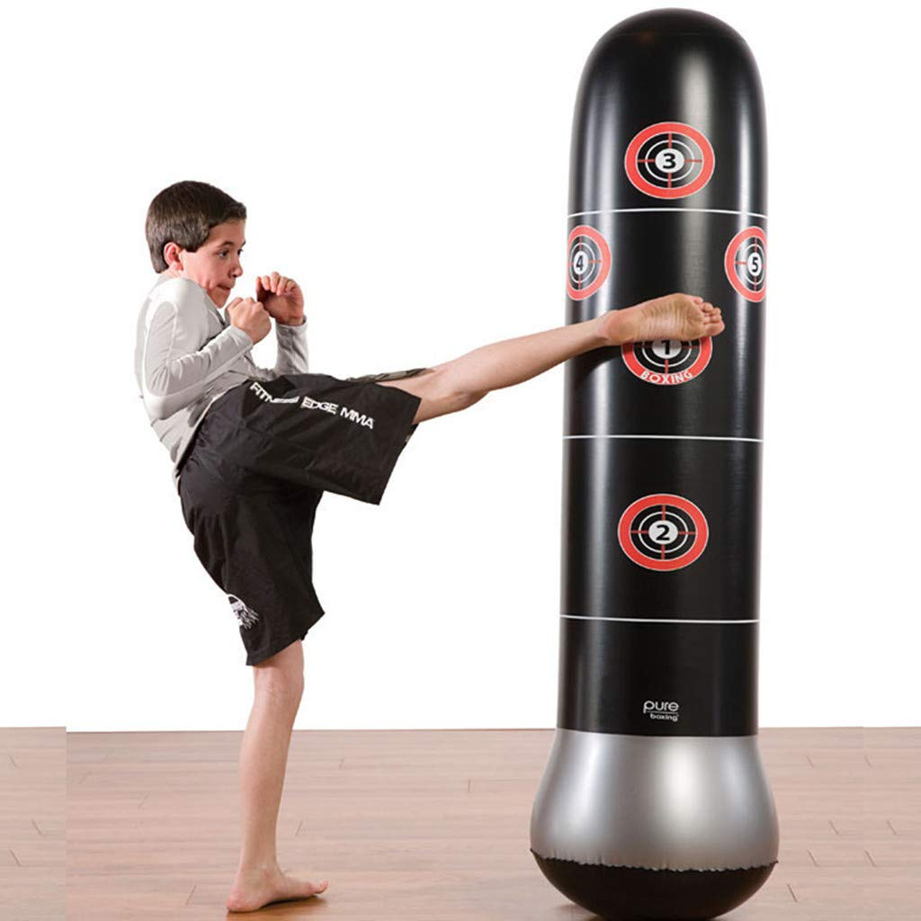 Tronet Kids Boxing Gloves and Punching Bag Inflatable Boxing Tower for Adult Children Sandbags PVC Fitness Training New 1.6 (Black)