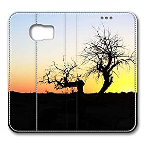 Samsung S6 leather Case,Samsung S6 Cases ,Sunset twilight of dead trees Custom Samsung S6 High-grade leather Cases