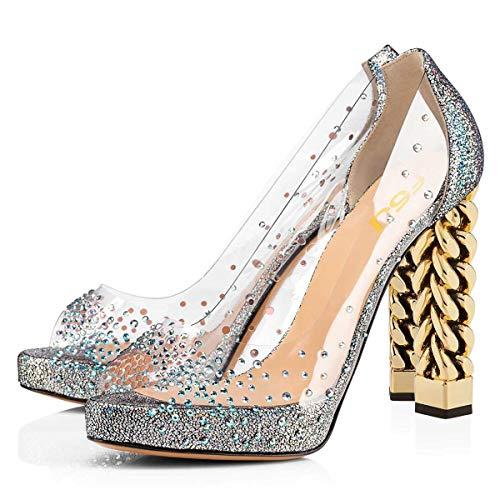 FSJ Women Chic Peep Toe Thick Metallic Chain Heels Pumps Platform Slip On Patent Cocktail Party Dress Shoes Size 13 Silver ()