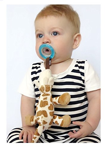Nuby Natural Flex Cherry Pacifier with Snoozie Combo Set, Giraffe, 0-6 Months