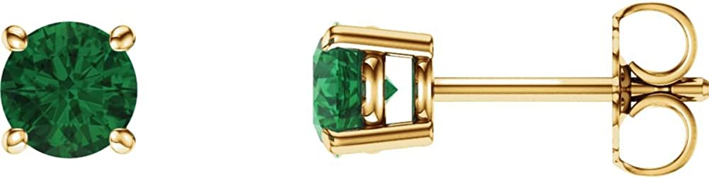 Jewels By Lux Set 14K Yellow Gold Lab-Created Emerald 5 mm Friction Pair Polished Chatham Created Emerald Earrings
