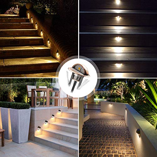QACA Pack of 10 LED Stair Light Low Voltage Waterproof IP65 Outdoor Φ1.38'' Wood Recessed Warm White LED Deck Lighting Yard Garden Patio Step Landscape Pathway Decor Lamp, Bronze by QACA (Image #2)
