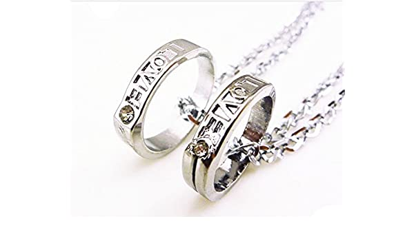 Amazon Students Couple Lover Rings Alloy Necklace Pendant One Pair Men Women Accessories Creative Birthday Gift Girlfriend Ring With Word