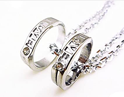 Amazon Students Couple Lover Rings Alloy Necklace Pendant One
