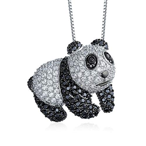Bling Jewelry Panda Bear Pendant Necklace for Women Black and White Cubic Zirconia CZ Rhodium Plated 16 Inch Chain