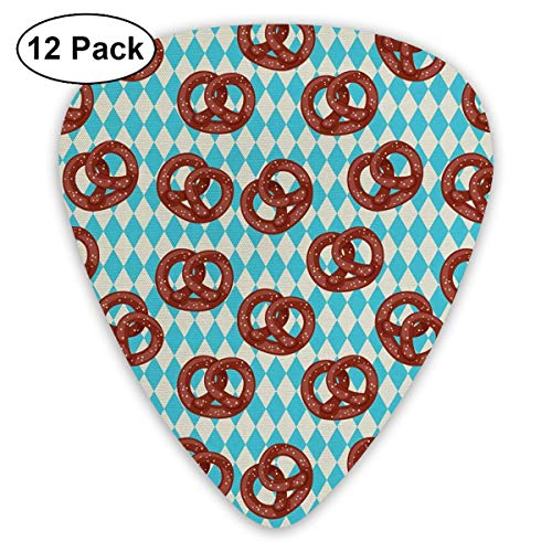 NaiNain Salty Pretzels On Diamond Classic Celluloid Guitar Picks (12 Pack) for Electric Guitar, Acoustic Guitar,Plectrums for Guitar Bass