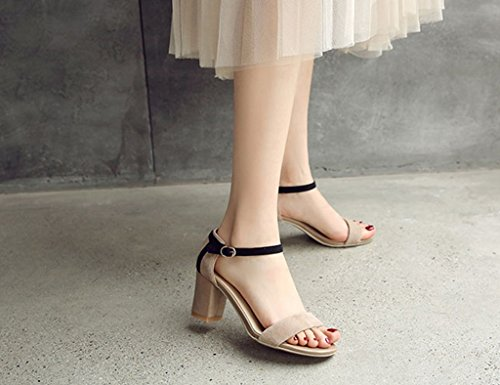Career Sandals ZCJB Buckle Size Female Black Coarse Wild Heels Color High Nude toed Open Word Heel Summer 36 Shoes Color Black rrdxTYq8