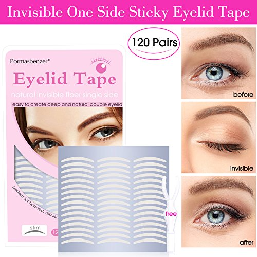 Natural Invisible Fiber Single Side Eyelid Tape Stickers - Instant Eye Lift Without Surgery - Perfect for Hooded, Droopy, Uneven, or Mono-eyelids (120 Pair, Slim) by Pormasbenzer