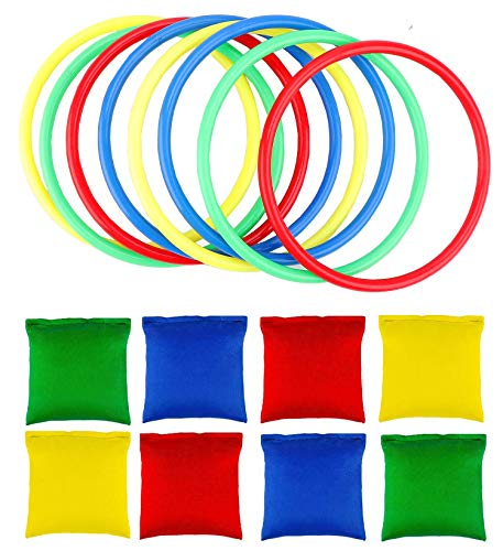 OOTSR 16pcs Nylon Bean Bags Plastic Rings Game Sets for Kids Ring Toss Game Booth Carnival Garden Backyard Outdoor Games Speed and Agility Training Games