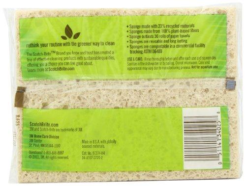 Scotch-Brite Greener Clean Absorbent Sponge, Made from 100% Plant-Based Fibers, 4-Sponges/Pk, 6-Packs (24 Sponges Total)