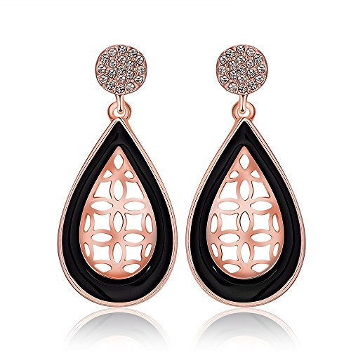 Naivo 18K Gold Plated Bohemian Filigree Teardrop Leverback Earrings - 3 Colors (Laser Cut Acorn Shaped Drop Down Earrings) (Laser Cut Teardrop Earring)