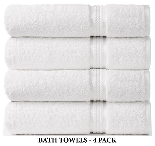 Cotton Craft Ultra Soft 4 Pack Oversized Extra Large Bath Towels 30x54 White weighs 22 Ounces - 100% Pure Ringspun Cotton - Luxurious Rayon trim - Ideal for everyday use - Easy care machine wash - Beach Towel Craft