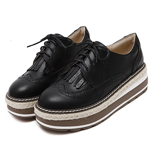 CYBLING Fashion Casual Lace Up Mid Heel Thick Sole Platform Oxford Shoes For Women Black HjIO0b