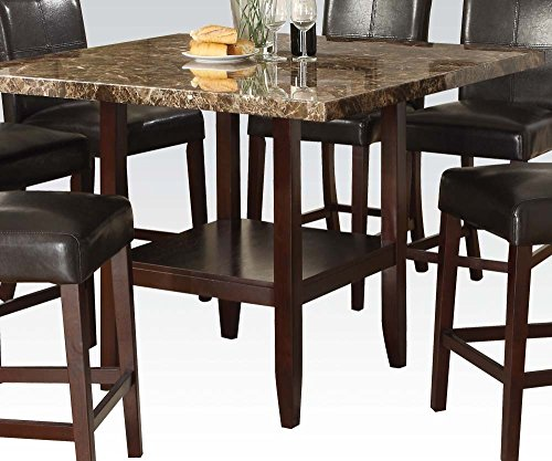 Faux Marble Top Counter - ACME 70355 Idris Faux Marble Top Counter Height Table