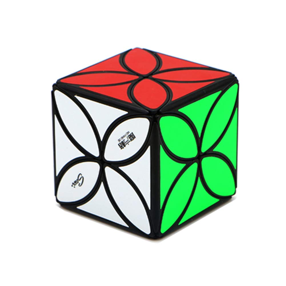 JIAAE 4X4 Puzzle Rubik's Cube Four-Leaf Clover Allotype Rubik Children Aesthetically Toy,Black