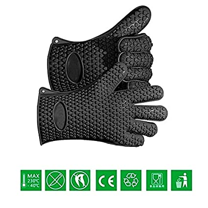 Generic 1 Pair: Enipate Silicone Heat Resistant BBQ Grill 5 Fingers Gloves Kitchen Barbecue Oven Cooking Glove Cooking Extreme