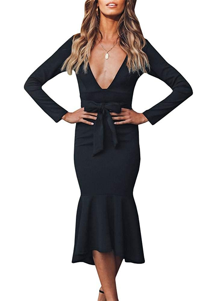 Black YOMISOY Womens Sexy Cocktail Dresses Bodycon Deep V Neck Long Sleeve Mermaid Party MidCalf Dress