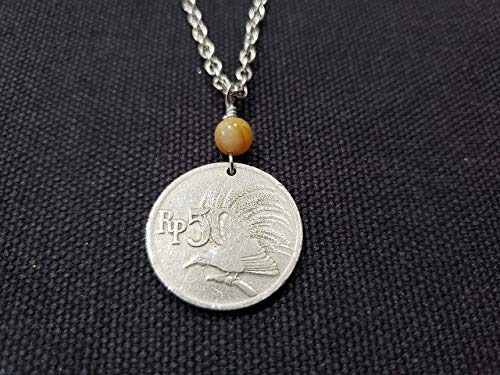 CoinageArt Bird Coin Necklace 50 Rupiah from Indonesia dated 1971 with Agate Gemstone on Brilliant Stainless Steel Chain - 48th Birthday Necklace 140