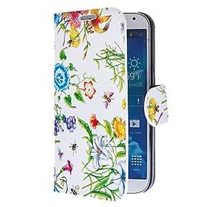 Patr¨®n de flor blanca de caso completo del cuerpo con el soporte y la ranura para tarjeta para Samsung i9500 Galaxy S4