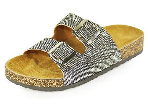 H2K Slide Sandals For Women, Women's Summer Comfy Genuine Leather Footbed Slide Sandals Slip-On Flat Slippers Flip Flops Shoes Adjustable Buckled Straps, Pewter Glitter & Beige Size 7 M [US Size] (Glitter Pewter)