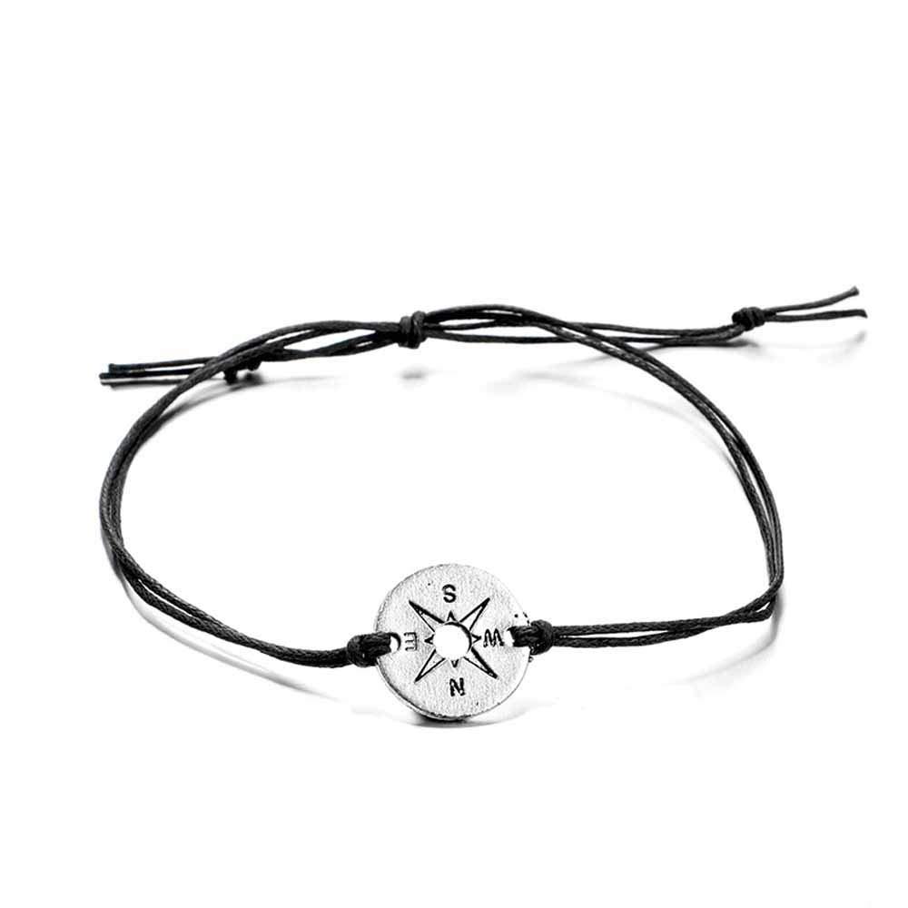 argento Jovono Boho medio tiny cavigliera rotonda bussola e ciondolo tartaruga ciondolo cavigliera moda spiaggia piede gioielli per donne e ragazze