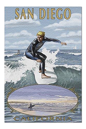 San Diego, California - Surfer Scene (20x30 Premium 1000 Piece Jigsaw Puzzle, Made in ()