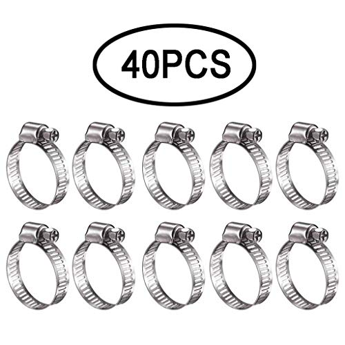 Stainless Steel Hose Clamp 40pcs Including 7 Sizes Adjustable Pipe Tube Clamps
