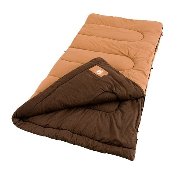 Coleman Dunnock Cold Weather Adult Sleeping Bag 1 Adult sleeping bag for camping in cold temperatures as low as 20 degrees F Can accommodate most people for heights up to 6 feet 4 inch tall Fiberlock construction, cotton cover, soft cotton flannel liner, and Thermolock draft tube for warmth and heat retention