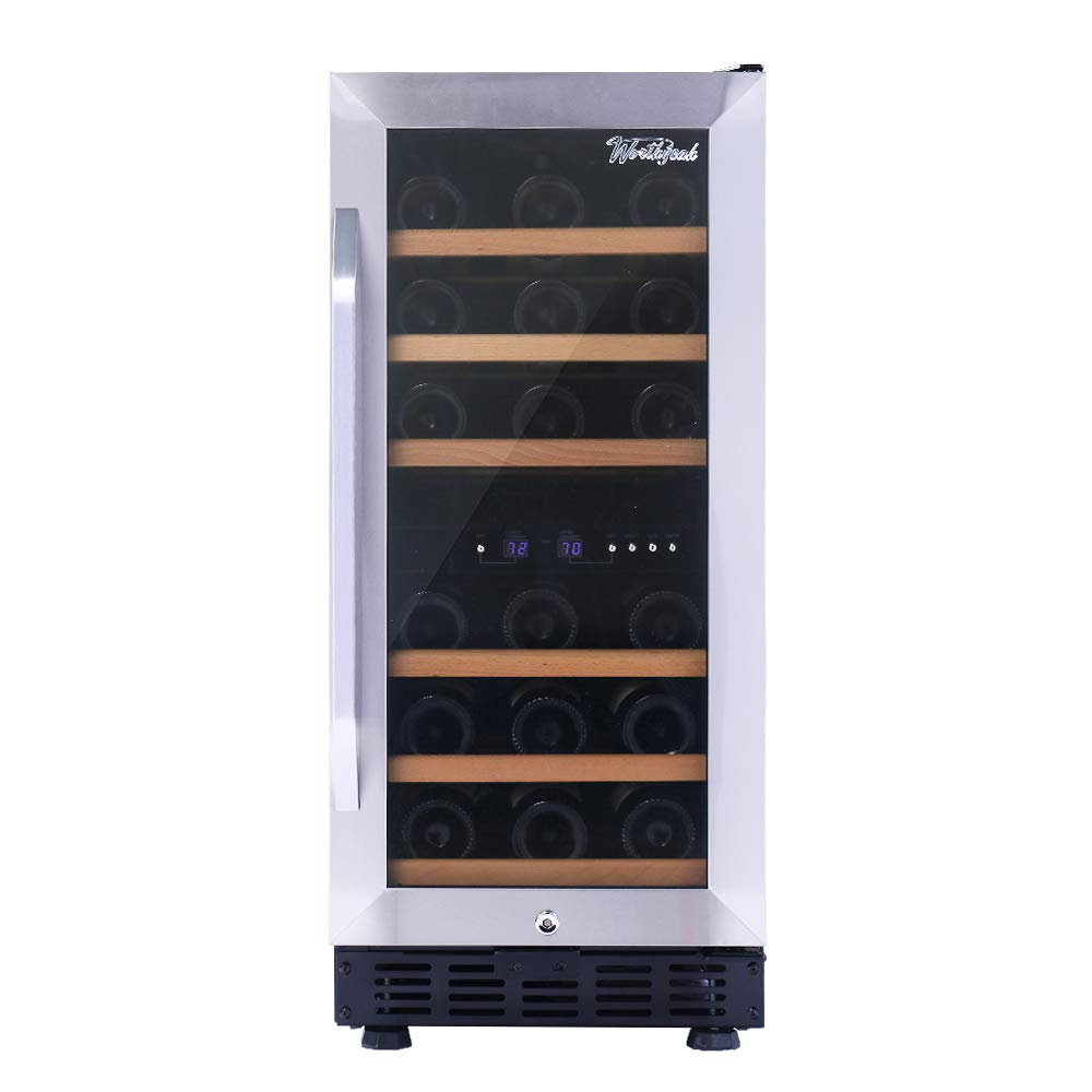 Worthyeah 15 Inch Wine Cooler Dual Zone Built-in or Freestanding Compressor Wine Refrigerator with Double-Layer Tempered Glass Door,Child Safety Lock and Compressor Protection Grid by Worthyeah (Image #8)