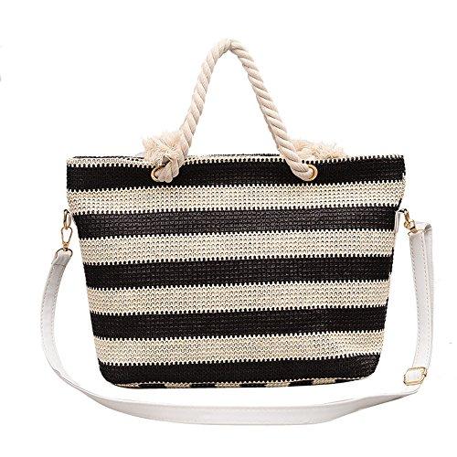 Meaeo Straw Bag Beach Bag Bolso De Solo Hombro Slant Y Paquete De La Cruz,Rayas Azules Black Stripe