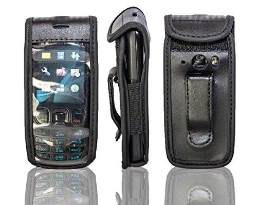 caseroxx Handy-Tasche Ledertasche mit Gürtelclip für Nokia 6303 und 6303i aus Echtleder, Handyhülle für Gürtel (mit Sichtfenster aus schmutzabweisender Klarsichtfolie in schwarz)
