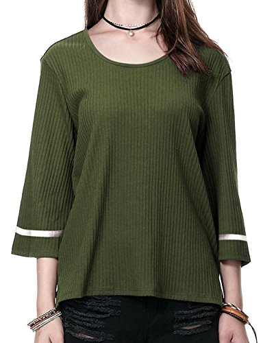Regna X Boho for Womens Scoop Neck Swing Everyday Look Olive Green Large 3 4 Bell Sleeve Striped Ribbed Sweater Knit Tops (Poncho Ribbed)