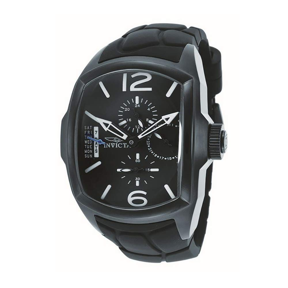 Invicta Men s 18902 Lupah Black Ion-Plated Stainless Steel Watch with Black Silicone Band
