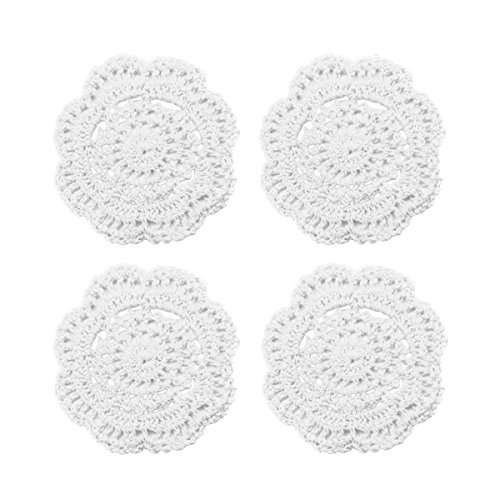 Phantomon Lace Round Crochet Doilies Handmade Coasters, 4-Inch, Pack of 4 (White)
