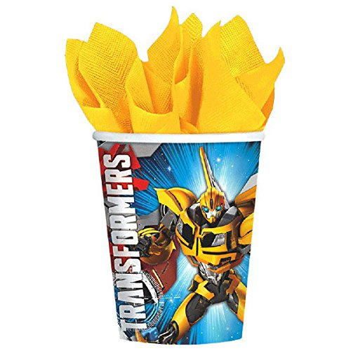 Dinner Plates and Table Cover Candles Luncheon Napkins Transformers Party Supplies Pack for 16 Guests: Stickers Cups