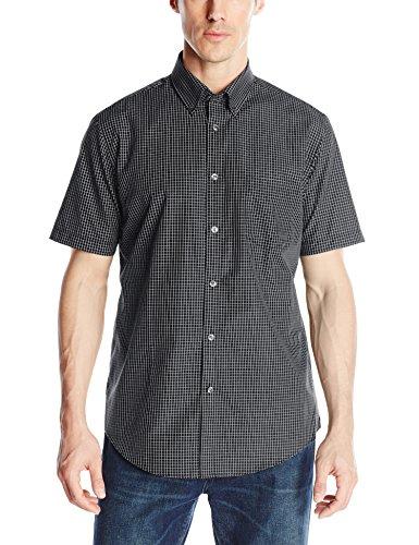 Van Heusen Men's Short Sleeve No-Iron Mini Grid Button Up, Black, Medium
