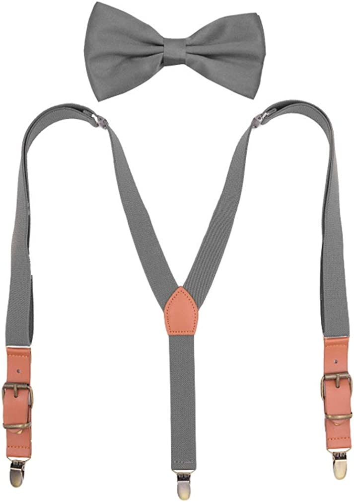 AYOSUSH Vintage Suspenders and Bow Tie Set for Boys Child Y Shape 3 Clips Braces