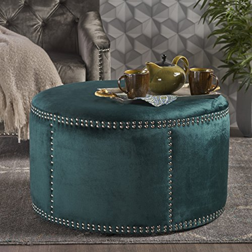 Jesper Round Velvet Ottoman | Studded Accents | in Teal by Great Deal Furniture