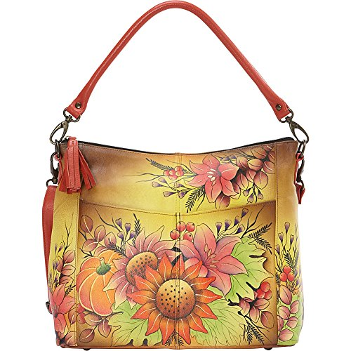 Anuschka Handpainted Leather Convertible Shoulder Bag, Fall Bouquet