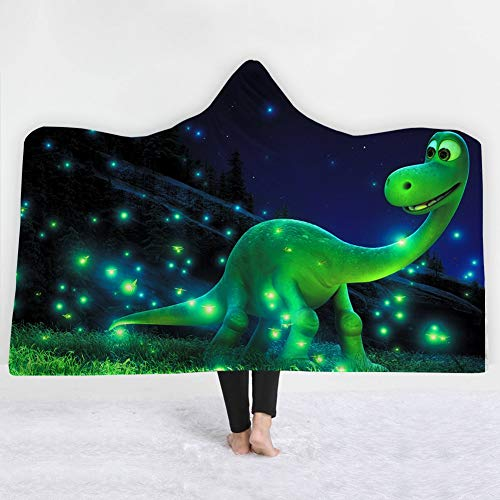 Love of Life 3D Dinosaur Pattern Printing Blanket Hooded Bathrobe Super Soft Thick Flannel Warm Winter Hoodie Cloak, Don't Fade,14,150x130cm(59x51inch) (Reversible Hoodie Flannel)