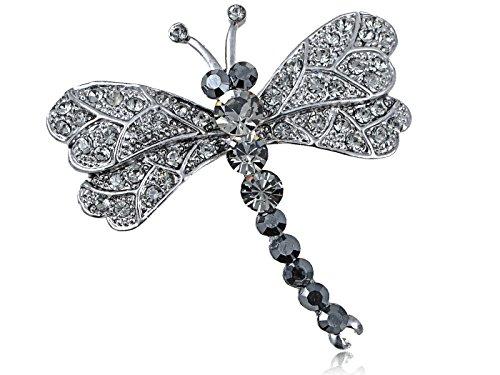 Alilang Silvery Tone Grey Rhinestones Dragonfly Insect Wings Brooch Pin
