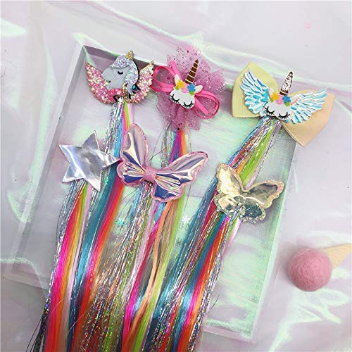 Fanovo Unicorn Hair Extension for Kids Glitter Butterfly Star Hair Clips Wigs Braided Curly Ponytails Hair Bows Headdress Horsetail Accessories 5 Pack (Unicorn Set 1-5 Pack)