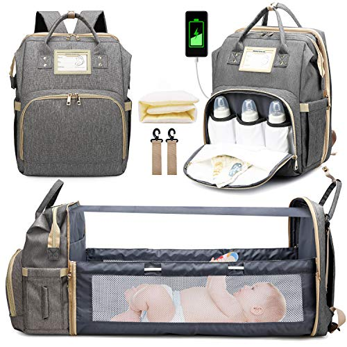 3 in 1 Diaper Bag Backpack with Changing Station, Travel Bassinet Foldable Baby Bed, Baby Bag Portable Crib, Mummy Bag, Large Capacity, Waterproof, USB Charging Port