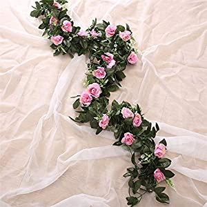 GSD2FF Artificial Rose Flower Hanging Decorative Roses Vine Plants Leaves Artificial Garland Flowers Wedding Wall Decoration,3 46