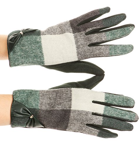 Sakkas GL17 - Liya Classic Warm Driving Touch Screen Capable Stretch Gloves Fleece Lined - 17102-hunter/green - L/XL